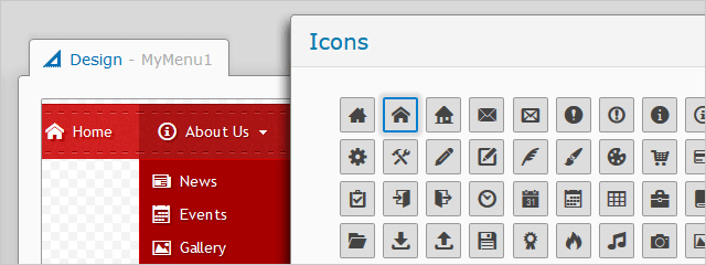Drop Down Menu with Icons