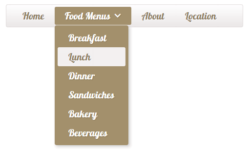 Menu for the cafe/restaurant website