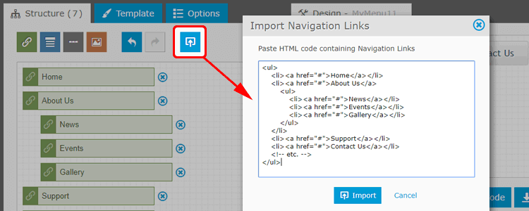 Import Navigation Links