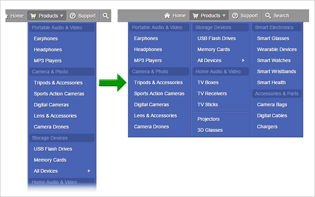 Multiple-column dropdown menu