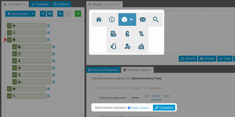 Icon Bar: Multi-Column Submenus