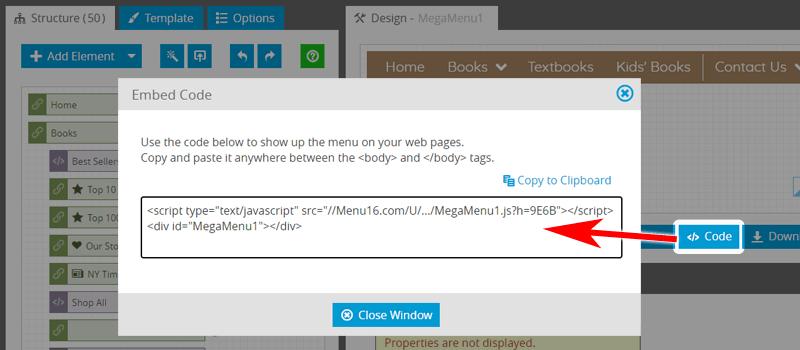 Mega Menu: Adding To Web Page