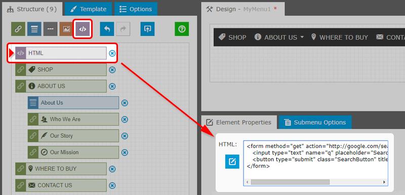 Search Bar: Add New HTML Element