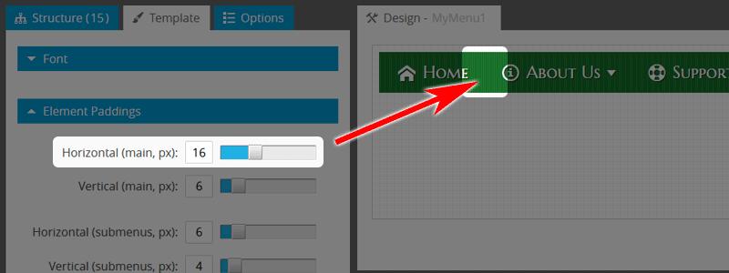 Website Navigation: Add Paddings