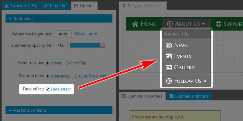 Website Navigation: Use Fade Effect